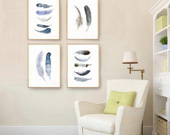 4 Aquarell Kunstdrucke. 16 x 20 Zoll-Galerie-Wand-Satz. Set aus 4 Kunstdrucke. Aquarell Feder Kunst. Galerie-Wand-Dekor. Moderne Kunst.