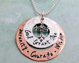 Serenity Prayer Necklace - Serenity Courage Wisdom Necklace - God Grant Me - Faith Jewelry - Sobriety Necklace - Recovery Gift - AAA