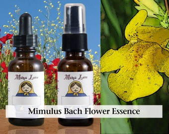Mimulus Bach Flower Essence, 1 oz Dropper or Spray for Overcoming Anxiety and Fear
