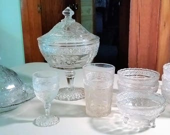 Indiana Glass BIRDS & STRAWBERRIES pattern circa 1910-20