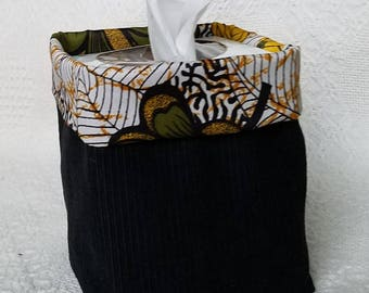 Square Tissue Box Cover, Home Decor, Black Corduroy Tissue Cover, basket, jungle theme, Gift under 15, yellow flowers, Tissue Dispenser