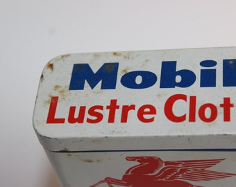 Vintage Tin Mobil Lustre Cloth Socony Mobil Oil Company Cleans and Polishes Automobiles Furniture Petroliana