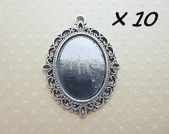 aged 18 x 25 mm-10 silver pendants for cab. oval 18 x 25 - L109952