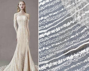 5yard New ivory collection sequins lace fabric fashion embroidery lace fabric tulle wedding dress 130cm for fashion lace