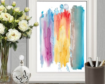 Abstract art print Abstract watercolor art printable Colorful watercolor strokes Abstract wall art Large Abstract canvas DOWNLOAD 16x20 8x10