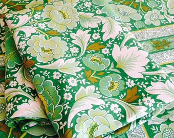 1960s/70s Green Floral Cotton Reversible Duvet Cover, Boho Bedding, TWIN/SINGLE  Bed Cover 150cm or Vintage Fabric
