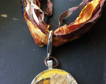 Golden Fiber Necklace w/Resin Butterfly Collage Pendant