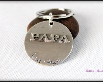Sterling Silver Hand Stamped Keychain, Grandpa Keychain, Father's Day Gift, Custom Hand Stamped Keychain, Keychain for Grandpa, Mama Mia