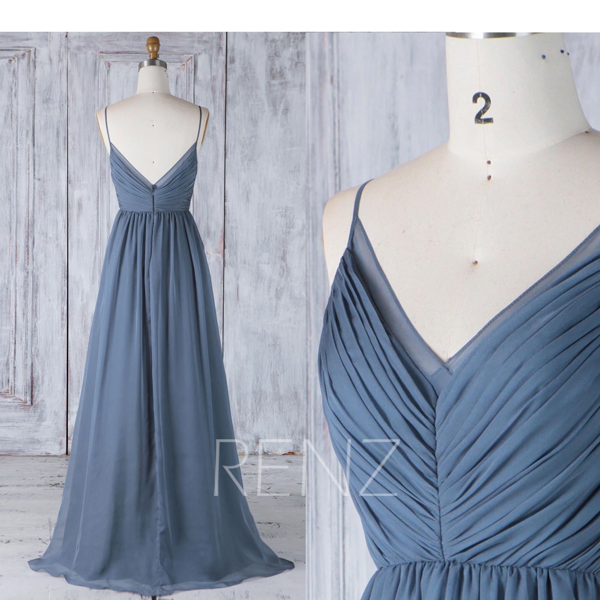 Bridesmaid Dress Dark Steel Blue Chiffon DressWedding