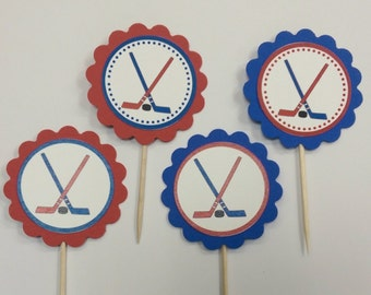 Hockey themed cupcake toppers