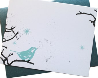 Christmas Cards - Snow Bird - Card set of 8 - bird, branch, snow