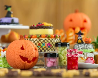 Dollhouse Miniatures Jack O' Pumpkin Lantern Head Trick or Treat Halloween Festival Full of Sweet and Dessert Cake and Cookies - 1:12 Scale