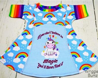 Unicorn Dress Girls, Girls Rainbow Dress, Unicorn Dress, Unicorn Girls Dresses, Girls Unicorn Dress, Unicorn Outfit, Rainbow Dress Girls