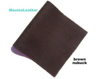 Genuine leather brown nubuc leather - dark brown leather
