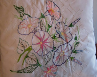 Throw  toss pillow artist's unique design and hand-embroidered creation Morning Glories on trellis