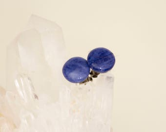 Deep Blue Sodalite Stud Earrings