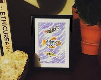 Framed mixed media fish illustration and lino print, unique art, handprinted, handmade, hand painted, sealife, seaside,