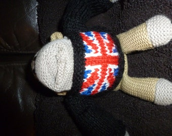 Hand Knitted Sweater with Union Jack Fits PG Tips Small Monkey