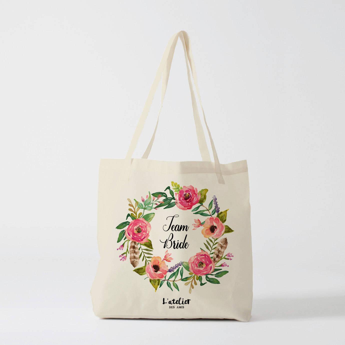 w125y team bride tote bag personnalis sac de toile sac. Black Bedroom Furniture Sets. Home Design Ideas