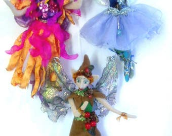 """MM251E – KALI, KALEB & KARLA- 3 Pixies- 11"""" (28 cm) Cloth Doll Pattern"""