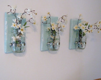Hanging Mason Jar Sconces, Rustic Home Decor, Set of 3 Sconces, Mason Jar Wall Decor, Farmhuse Mason Jar Decor, Mason Jar Wall Sconces