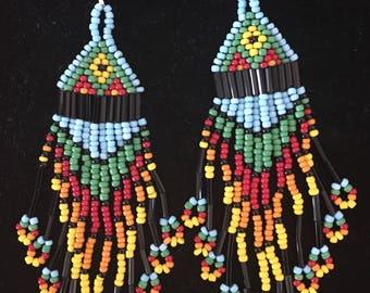 Native American Design Hand Made Seed Bead-Bugle Bead Earrings