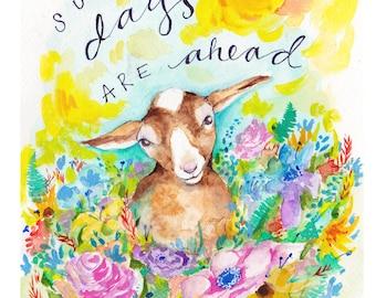 Goat Print, goat art, goat watercolor, goat painting, goat love, goat farm, goat gift, goat theme, goat ranch, goat farmer