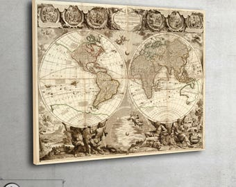 """Large world map, wall map,Vintage world map, fine art, giclee print - interior map design - large art print up to 42"""" x 56"""" - 115"""
