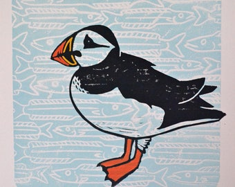 Puffin And Fish - Original Seabird Lino Print