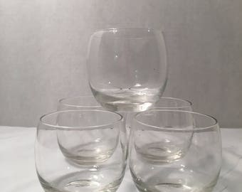Vintage Set of 5 Roly Poly Whiskey / Wine / Scotch Drinking Glasses Mid Centruy Modern / Retro / Art Deco     lot#512