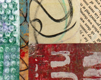 """Just Words - Original Collage with Hand Drawn and Painted Papers 4 x 4 on 5 x 5"""" Backing"""