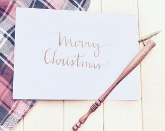 Merry Christmas Card, Christmas Cards Set, Handmade Cards, Handwritten Cards, Calligraphy Cards, Gift, Stationary