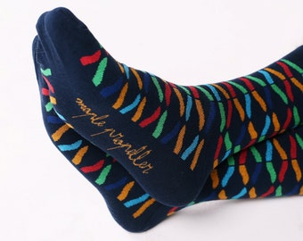 Men's colorful dress socks in navy | moustache design