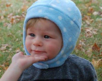 Fleece baby hat, SMALL,  baby hood, polar fleece child hat