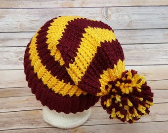 Maroon and Gold Slouchy Hat, Scarlet Gold Beanie Hat, Burgundy Yellow Slouchy Hat, Gryffindor Hat, Wizard Hat, Wizard House Hat