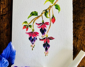 Watercolor floral notecard handmade Mother's Day, Thank you note, Hostess gift