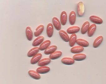21 vintage glass flat-backed elongated oval cabochons - mottled pink - 14.3 x 6.8 mm