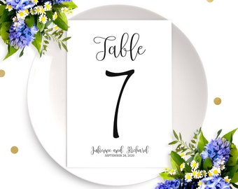 Personalized Wedding Table Numbers-Affordable DIY Printable Calligraphy Table Number Cards-Wedding Table Decor-Chic Rustic Wedding Signs