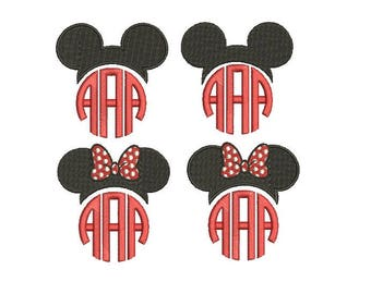 27 Sizes Mickey and Minnie Head Ears Mouse Monogram Frame Toppers Girl Bow Design Fill Embroidery Machine Instant Download EN2193F1F5