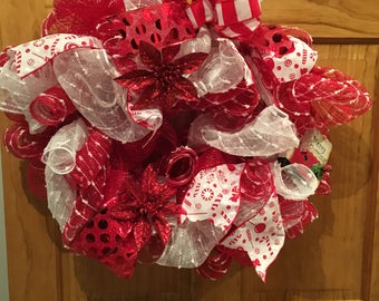 Red and White Peppermint Christmas Deco Mesh Wreath