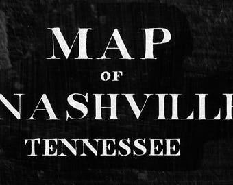 Nashville Map 1860 Vintage Nashville restoration decor style map Tennessee Map Old Map of Nashville Black WALL Map Home Decor Gift Idea