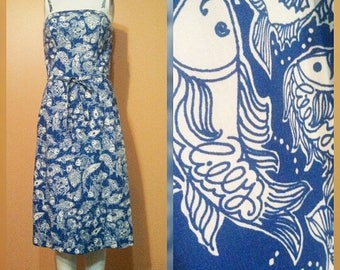 Reserved   Lilly Fish Print Dress / Lilly Pulitzer / Signed Lilly Dress / Summer Sundress
