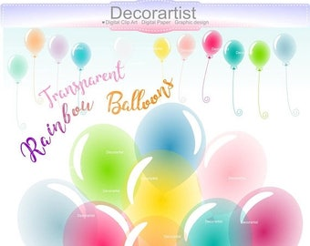 ON SALE Balloons Clip Art // Rainbow Birthday Balloons Clip Art,Party Clipart,Party Embellishment,balloon bunch clip art, ON Sale