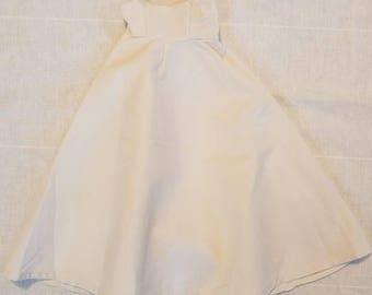 Doll dress, vintage, long white cotton, 13 long