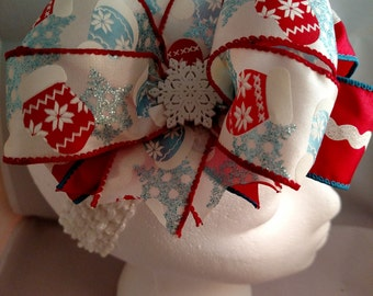 Christmas Mittens and Hats Red and Blue  Over-The-Top Hair Bow Hairbow