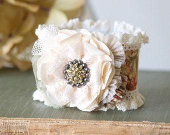 Bridesmaid Bracelets - Wedding Cuff Bracelet - Corsage Bracelet - Lace Bracelet Cuff - Fabric Flower Bracelet - Bride Bracelet - Floral Cuff
