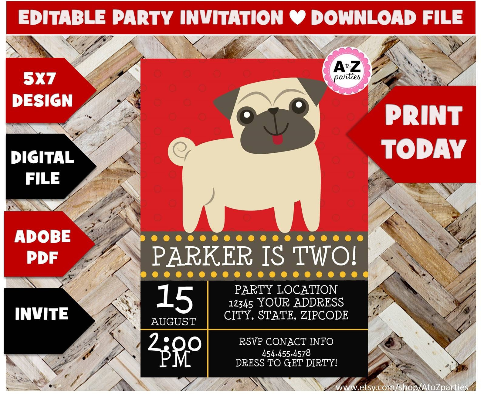 DOWNLOAD Pug Party Invitation Puppy Pals Red Dog themed