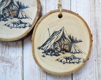 Tree Branch Slice Ornaments Rustic Woodland Camping Tent Christmas Ornament