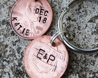 Hand Stamped 2018 Wedding Pennies - Perfect Bridesmaid or Groomsmen gifts - Personalized (necklace, keychain, or cell charm) -Made to Order-