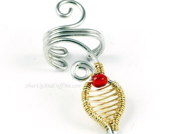 Silver and Gold Leaf Ear Cuff with a Red Glass Bead - LEFT Ear Only - CLEARANCE